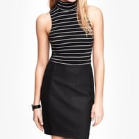 STRIPED MOCK NECK CUT-OUT TANK