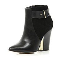 Black metal trim pointed block heel boots - ankle boots - shoes / boots - women