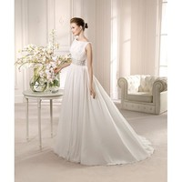 Bonny Vintage Sweep A-line Boat Neckline Chiffon Embroidery Wedding Dress
