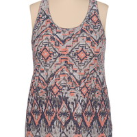 High-low tribal print racerback plus size tank