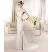Noble Sheath Sweep Sweetheart Neckline Chiffon Embroidery Backless Wedding Dress