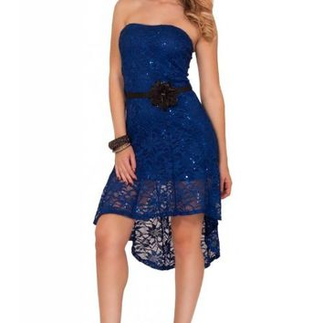 Hot From Hollywood Women's Strapless Sequin High Low Sheer Flowy Party Dress
