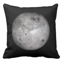 Full Moon Black Throw Pillow