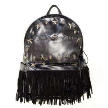 Star Studded Black Fringed Backpack
