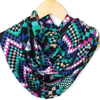 Different Colorful Chevron Scarf, Plaid infinity Scarf, Lightweight Soft, Spring Scarf, Circle Scarf, Women Accessories