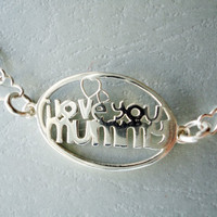 Mothers necklace, Sterling Silver necklace, Love you mummy, Mother's day gift, heart chain, silver 925