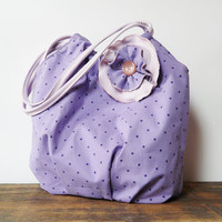 polka dots bohemian bag purple shoulder bag flower brooch hippie retro romantic bag