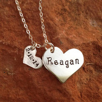 Sterling Silver Hand Stamped Mother and Child Heart Necklace