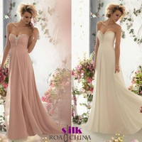 New beaded long bridesmaid prom Formal Evening Cocktail Party Ball Gown dresses