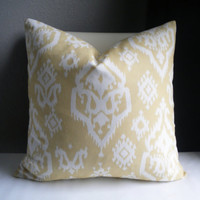 Soft Yellow Ikat pillow cover, small ikat print both sides