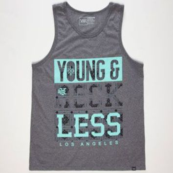 Young & Reckless Bandana Bars Mens Tank Heather Black  In Sizes