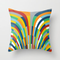 Rainbow Bricks #2 Throw Pillow by Project M