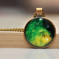Green Galaxy Necklace, Univers Jewelry, Nebula Necklace, Resin Jewelry, Green Necklace