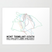 Mont Tremblant, Quebec, Canada -South Side - Minimalist Trail Art Art Print by CircleSquareDiamond