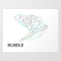 Ski Santa Fe, NM - Minimalist Trail Art Art Print by CircleSquareDiamond