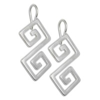 Double Meander-Greek Key ~ Sterling Silver Pierced Earrings