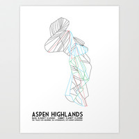 Aspen Highlands, CO - Minimalist Trail Map Art Print by CircleSquareDiamond