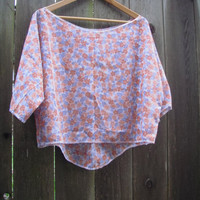 Romantic Floral Hi Lo Crop Top/ Wide Neck Eco Hipster Shirt/ Summer Blouse M/L