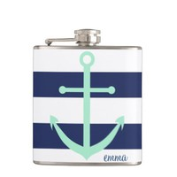 Navy Blue and Mint Monogram Anchor Flask