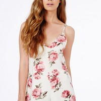 Missguided - Libby Rose Print Playsuit
