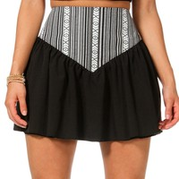 Black Tribal Yoke Skort