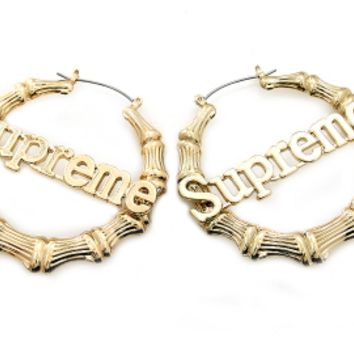 SUPREME BAMBOO HOOP EARRINGS
