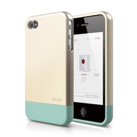 elago S4 Glide Case for AT&T, Sprint and Verizon iPhone 4/4S - eco friendly packaging (Champagne Gold+Coral Blue)