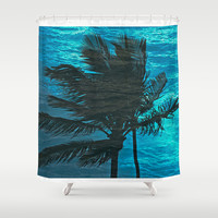 Swimming Palm Shower Curtain by Catspaws
