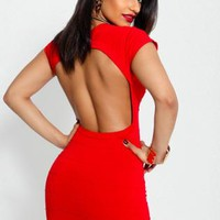 Red Open Back Bandage Dress
