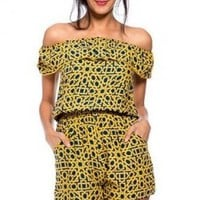 Yellow/Navy Sweet Southern Belle Romper