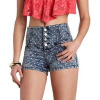 POLKA DOT DENIM HIGH-WAISTED SHORTS