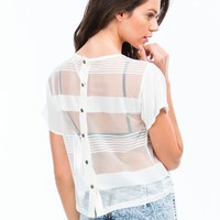 Sheer And Now Striped Mesh Top