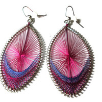 Pink and Purple Threaded Earrings, Dangle Style, Silver Toned Nickel Free Hooks