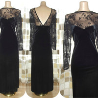 Vintage 80s 90s Sexy Mesh Illusion Sweetheart Gown 14 Sheer Sleeve Bombshell Black Velvet Wiggle Dress XXL 1X