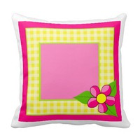 Yellow Gingham - Pink Daisy - Personalize