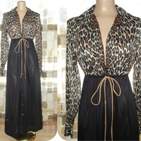 Vintage 60s 70s Vanity Fair Sexy Leopard & Black Nightgown Long Lounge Gown Robe Lingerie S/M/L