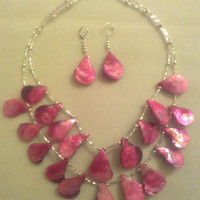 PINK  Shell  STATEMENT NECKLACE by jewelryandmorebyjb on Etsy
