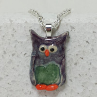 Purple and Green Owl Pendant Hand painted pottery pendant