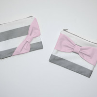 Zipper Pouch / Makeup Bag / Cosmetic Case - Gray Stripes with Light Pink Bow - Choice of Bow Style