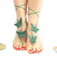 Barefoot sandal, Butterfly Barefoot Sandal, Green, Bridesmaid Jewelry, Wedding Sandles, Bridal Sandals, Grass Green, Anklet, Genuine Leather