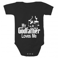 My Godfather Loves Me Baby Bodysuit by Sara Kety - 0-6 or 6-12 Months