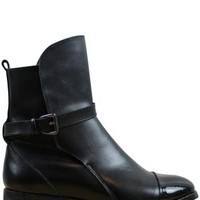 Black Leather Skinny Buckle Ankle Boot