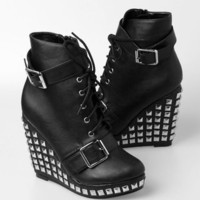 Abbey Dawn Hell Yeah Wedge - Black - Punk.com