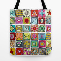 sketchy squares Tote Bag by Sharon Turner