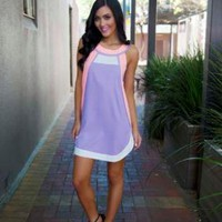 Lilac and Pink Dress with High Neck