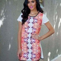 White Dress with Orange Printed Design