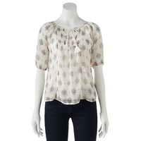 Mudd® Floral Sheer Peasant Top - Juniors