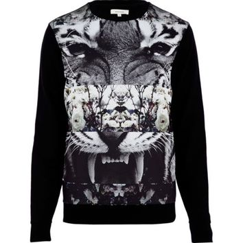 Black spliced tiger print mesh sweatshirt - sweatshirts - hoodies / sweatshirts - men