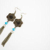 Bronze Flowers Dangle Earrings - Blue Beaded