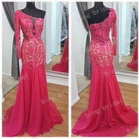Mermaid One Sleeves Hollow Full Floor Length Evening Dress Party Dress Prom Dress Bridemaids Dress 2014